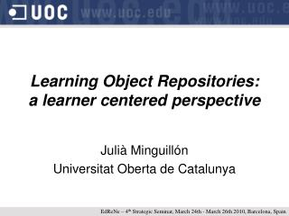 Learning Object Repositories: a learner centered perspective