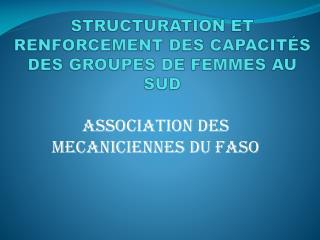 STRUCTURATION ET RENFORCEMENT DES CAPACITÉS DES GROUPES DE FEMMES AU SUD