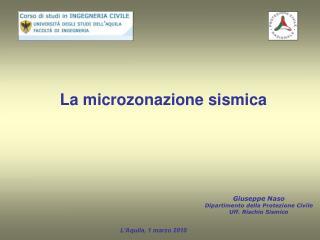 La microzonazione sismica