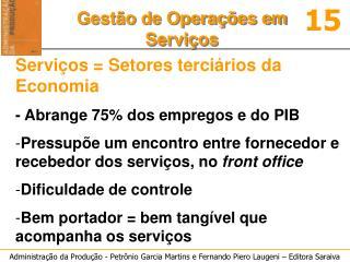 Serviços = Setores terciários da Economia - Abrange 75% dos empregos e do PIB