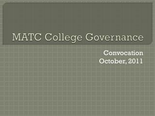 MATC College Governance