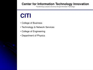 Center for Information Technology Innovation