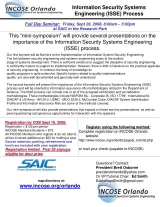 Full Day Seminar: Friday, Sept 26, 2008, 8:00am – 5:00pm  at SAIC in the Research Park