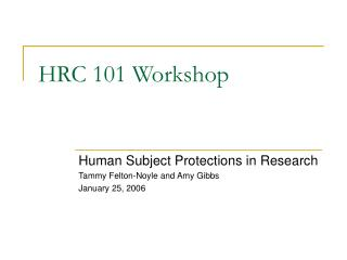 HRC 101 Workshop