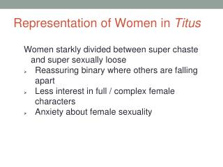 Representation of Women in  Titus