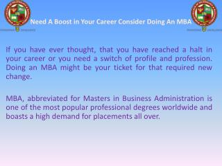 Need A Boost in Your Career Consider Doing An MBA