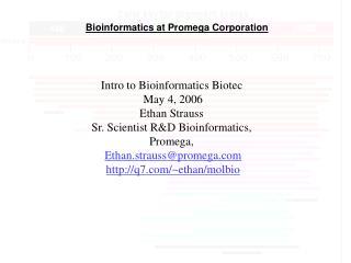 Bioinformatics at Promega Corporation
