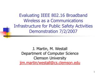 J. Martin, M. Westall Department of Computer Science Clemson University