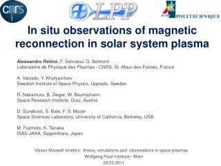 In situ observations of magnetic reconnection in solar system plasma