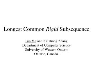 Longest Common Rigid Subsequence