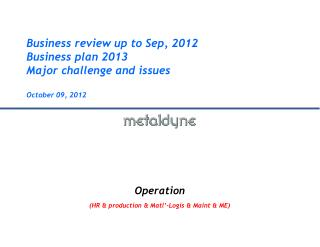 Business review up to Sep, 2012 Business plan 2013 Major challenge and issues  October 09 , 2012