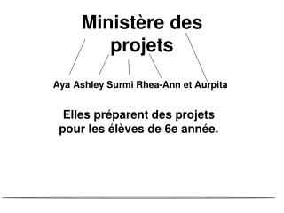 Ministère des projets Aya Ashley  Surmi Rhea -Ann et  Aurpita