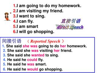 间接引语 ( Reported Speech ) 1.  She said  she was  going to do  her  homework.
