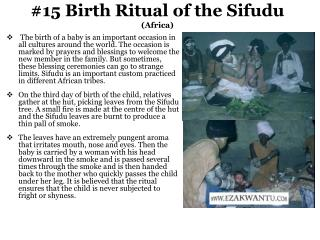 #15 Birth Ritual of the Sifudu (Africa)