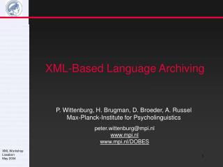 XML-Based Language Archiving