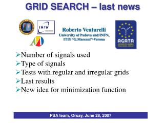 Number of signals used Type of signals Tests with regular and irregular grids Last results