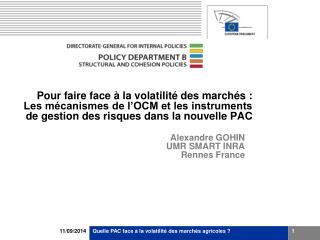 Alexandre GOHIN UMR SMART INRA Rennes France