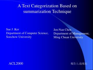 A Text Categorization Based on  summarization Technique