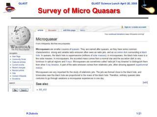 Survey of Micro Quasars