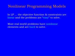 Nonlinear Programming Models