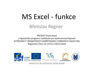 MS Excel - funkce