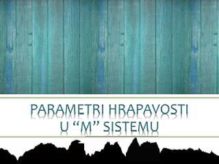 """PARAMETRI HRAPAVOSTI  U """"M"""" SISTEMU"""