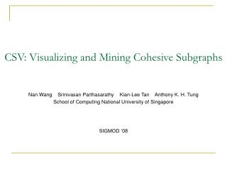 CSV: Visualizing and Mining Cohesive Subgraphs