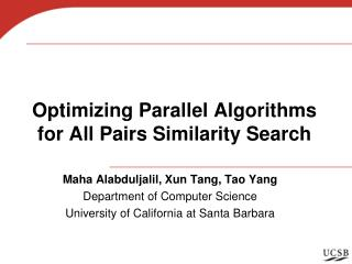 Optimizing Parallel Algorithms for All Pairs Similarity Search