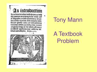 Tony Mann A Textbook Problem