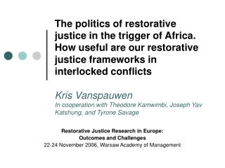 Restorative Justice Research in Europe:  Outcomes and Challenges