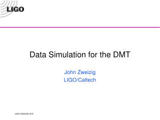 Data Simulation for the DMT