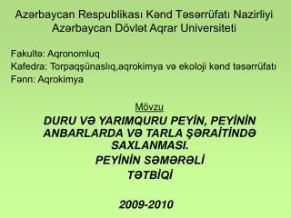 Azərbaycan Respublikası Kənd Təsərrüfatı Nazirliyi Azərbaycan Dövlət Aqrar Universiteti