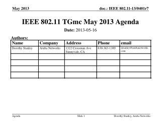 IEEE 802.11 TGmc May 2013 Agenda