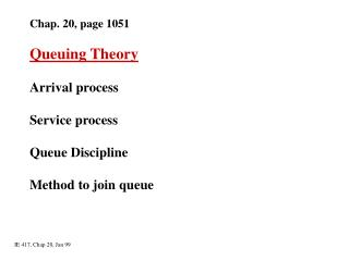 Chap. 20, page 1051 Queuing Theory Arrival process Service process Queue Discipline