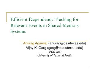 Efficient Dependency Tracking for Relevant Events in Shared Memory Systems