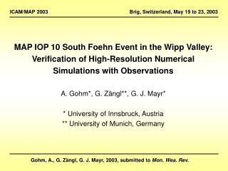MAP IOP 10 South Foehn Event in the Wipp Valley: Verification of High-Resolution Numerical