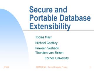 Secure and Portable Database Extensibility