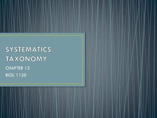 SYSTEMATICS/ TAXONOMY