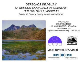 DERECHOS DE AGUA Y  LA GESTION CIUDADANA DE CUENCAS:  CUATRO CASOS ANDINOS