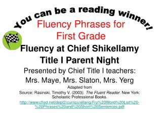 Fluency Phrases for  First Grade