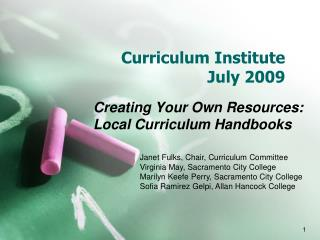 Curriculum Institute July 2009