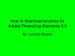 How to download brushes for Adobe Photoshop Elements 5.0
