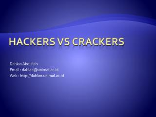 HACKERS Vs CRACKERS