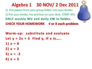 Algebra 1     30 NOV/ 2 Dec 2011