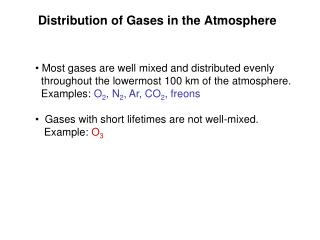 Distribution of Gases in the Atmosphere