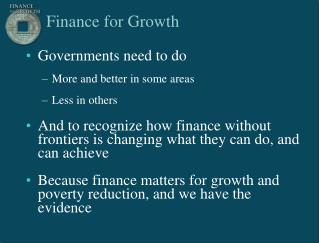 Finance for Growth