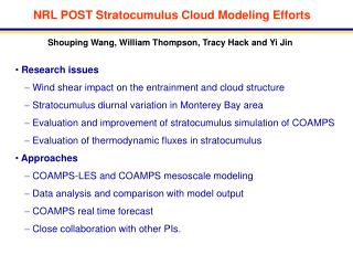 NRL POST Stratocumulus Cloud Modeling Efforts