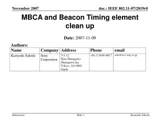 MBCA and Beacon Timing element clean up