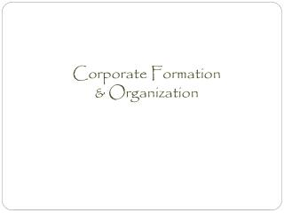 Corporate Formation & Organization