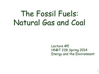 The Fossil Fuels: Natural Gas and Coal